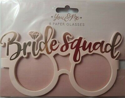 8  BRIDE SQUAD  HEN PARTY PAPER GLASSES ACCESSORIES BRiDE TEAM TRIBE FAVOURS • 2.69£