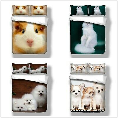 Hamster Dog Cat Duvet Quilt Cover Pets 3D Bedding Set With Pillowcases All Sizes • 26.99£