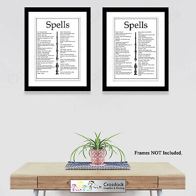 Set Of 2 Harry Potter Prints Magic Wand Wizard Spells Picture Print ONLY A4 Gift • 5.99£