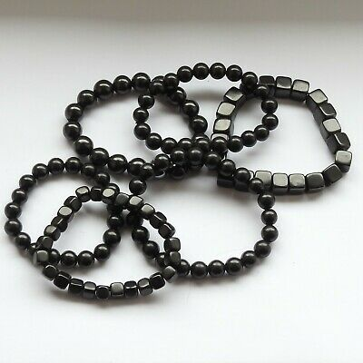 Natural Shungite Bead Stretchy Bracelet -Stones Got A Bit Deformed Or Scratched  • 6.99£