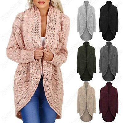 £16.99 • Buy New Ladies Open Cardigan Chunky Cable Knit Throw Over Look Womens Cardi Jacket