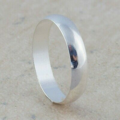 4mm Silver Plated Mens & Womens Wedding Band - New Unisex Ring - Sizes L To R • 3.99£
