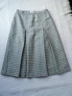 Cotswold Collection     Size 14    GREEN  CHECK  PLEATED    SKIRT ---  100% WOOL • 14.99£
