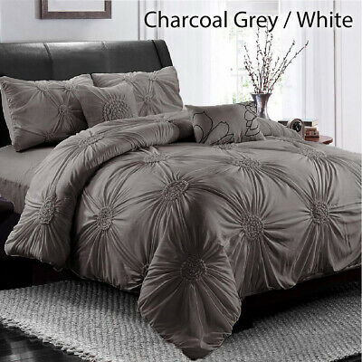 AU58.80 • Buy Diamond Embroidery Pintuck Pinch Pleated Duvet Doona Quilt Cover Set All Size