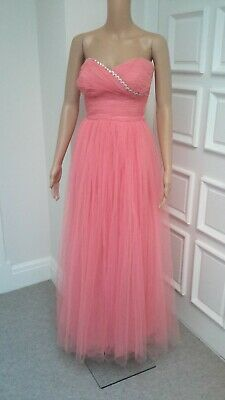 £110 • Buy Vintage 1950's Pink Tulle Will Steinman Strapless Evening Gown Dress B34  W24