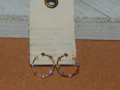 $ CDN32.75 • Buy Earrings Mini Small Anthropologie  Multi Color Sparkle Circles Delicate New $38
