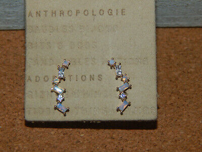 $ CDN29.18 • Buy Earrings Mini Crawler Small Anthropologie Zig Zag Blue Hues Delicate New $38