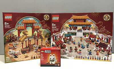$399.99 • Buy Lego Chinese New Year Temple Lion Dance Brick Headz Lucky Cat 80104 80105 40436
