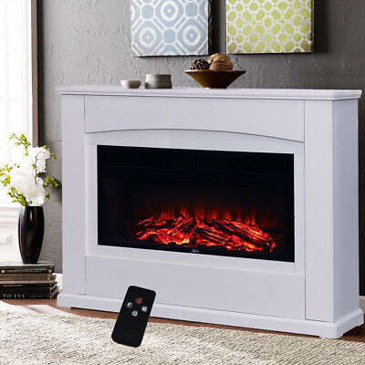 1800W Electric Fireplace 34  Fire Insert MDF Surrounding Led Flame Heater Stove • 307.14£