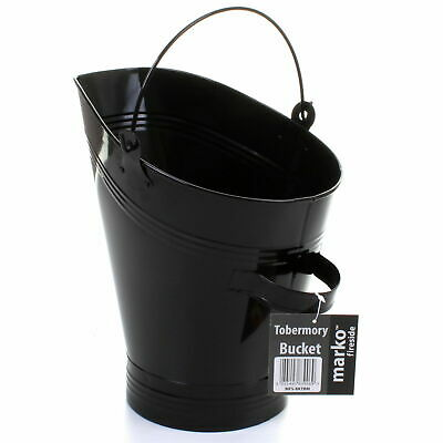 Coal Bucket Black Fireside Logs Fuel Storage Scuttle Hod Handle Fireplace Metal • 14.99£
