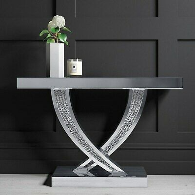 £204.96 • Buy Narrow Mirrored Hall Console Table With Crushed Crystal Finish - Jade Boutique