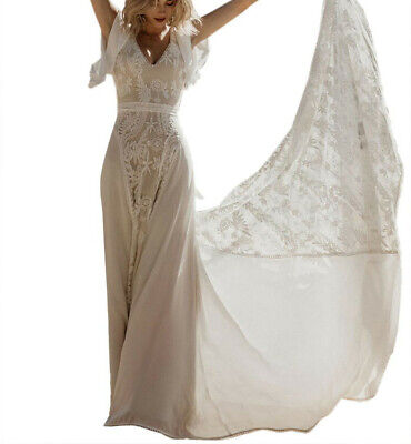 AU99 • Buy Beautiful White Chiffon And Lace Wedding Dress With Flutter Sleeves Size 10, NWT