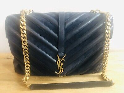 AU1995 • Buy Saint Laurent YSL College Large Quilted Bag Navy RRP$3163.00
