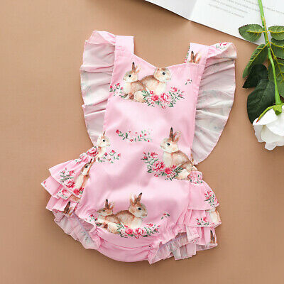 UK Cute Newborn Baby Girls Clothes Easter Bunny Romper Bodysuit Jumpsuit Outfits • 7.06£