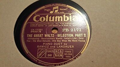Rawicz And Landauer The Great Waltz Selection Part 1 & 2 Columbia Fb2171 • 2.99£