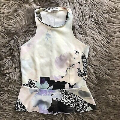 $11.69 • Buy ZARA W&B Collection Blouse Top Peplum Size Small Off White/ Multi Black Floral