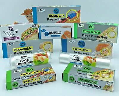 Various Food Freezer Sandwich Bags Strong Resealable Reuseable Grip ZIP Seal • 1.69£