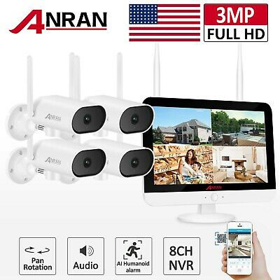 1080P Security Camera System Wireless Outdoor WIFI 12'' Monitor 1TB 8CH CCTV Kit • 240.37£