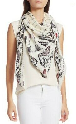 AU308.71 • Buy NWT Alexander McQueen $395 Trapped Butterly & Skull Modal/wool Scarf,Ivory/Black