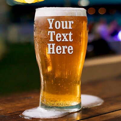 Personalised Pint Glass Engraved Glassware Gift, Birthday Gift Wedding Any Text • 7.99£
