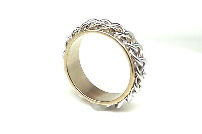 $5.97 • Buy  STAINLESS STEEL CURB BIKER CHAIN SPINNER RING HARLEY RIDER Gold Silver Color