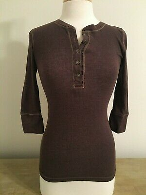 $8 • Buy Mossimo 3/4 Sleeve Heathered Brown Henley, Metal Buttons, Size S / Small, EUC