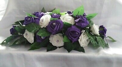 £32 • Buy Wedding Flowers Cadbury Purple & White Wedding Table Flower Centrepiece Display