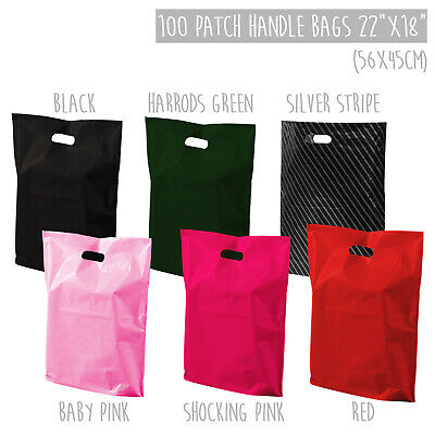 22x18  XL Large Coloured Retail Plastic Carrier Bags Strong Patch Handle X100 • 18.99£