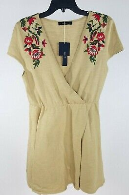 $29.99 • Buy Zara Knit Womens Dress Small Tan Floral Embroidered Wrap Front Mini Cotton Boho