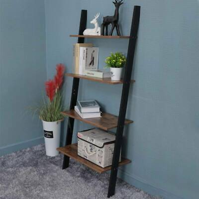 Rustic Brown Ladder Shelving Unit 4 Tier Wall Leaning Bookcase Storage Display • 37.99£