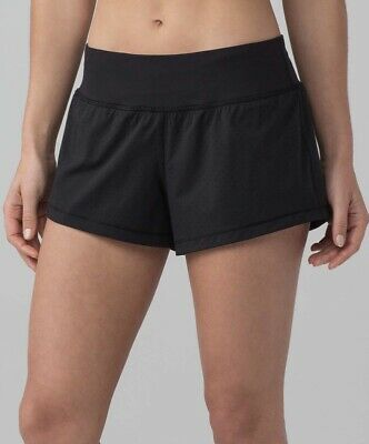 "$29.99 • Buy Lululemon Final Lap Shorts Sz 8 Black Perforated 2.5"" Run Speed"