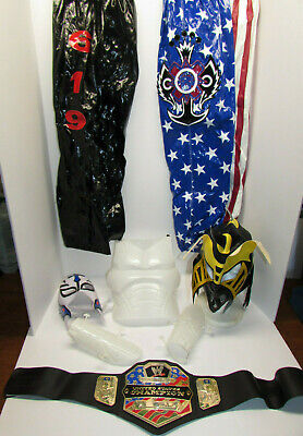 $110.70 • Buy NICE LOT! WWE Rey Mysterio 619 Replica Kid Size 2 Mask & 2 Pants Costume + BELT!