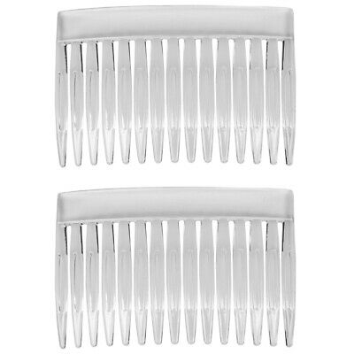 2 X CRYSTAL HAIR SLIDES SIDE COMB Stylish Professional Clear Colour Fascinator • 3.09£