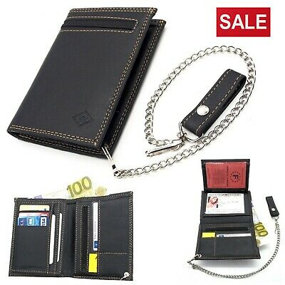 Mens Biker Leather Wallet With Coin Pocket And Safety Metal Chain Purse Pouch • 9.99£