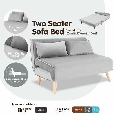 AU349 • Buy 2 Seater Sofa Bed Lounge Couch Modular Furniture Velveteen Fabric Light Grey