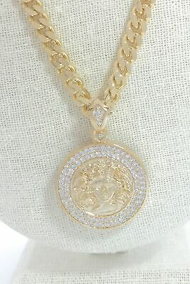 £13.69 • Buy Iced Bling MEDUSA Head Pendant W/ 24 , 7mm Cuban Link Chain GOLD PLATED