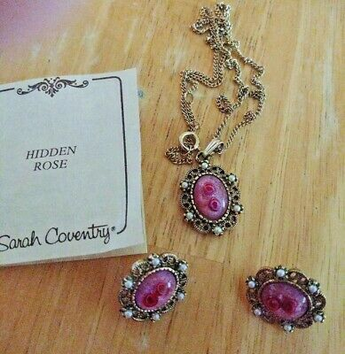 $22.50 • Buy Vintage Sarah Coventry HIDDEN ROSE Gold Tone PENDANT NECKLACE, Clip EARRINGS Set