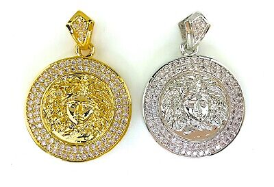£7.21 • Buy Iced Bling MEDUSA Head Pendant W/ Rhinestones, GOLD Or SILVER PLATED