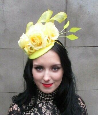 Yellow Floral Rose Flower Feather Pillbox Hat Fascinator Wedding Races Hair 8084 • 32.95£