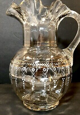 $29.99 • Buy Victorian Hand Blown Enameled Glass PITCHER Ruffled Rim