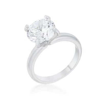 $14.96 • Buy 4.4 TCW Round 4 Prong Solitaire CZ Cubic Zirconia Bridal Wedding Ring Size 7