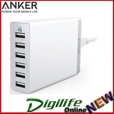 AU59.90 • Buy Anker PowerPort 60W 6 Port USB Desktop Wall Charger White