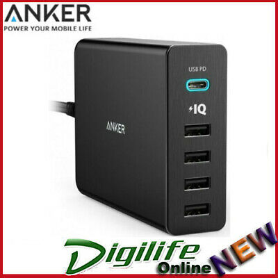 AU79 • Buy Anker PowerPort 5 Port 60W 1xUSB-C, 4x USB PD Fast Charge Mac Apple Samsung