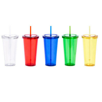 Clear Plastic Cups Tumbler With Lids And Straw   750ml Transparent / Translucent • 12.99£