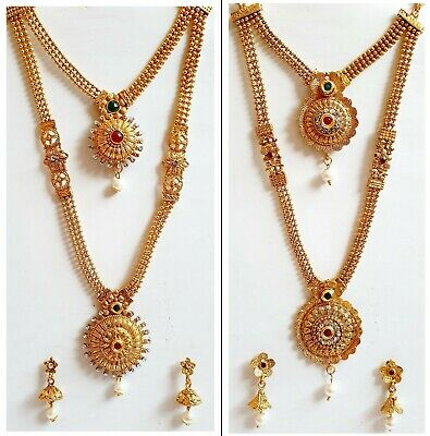 £6.98 • Buy New Necklace Set Polki Dot Gold Plated Chain Pearl Stone Indian Costume Jewelry