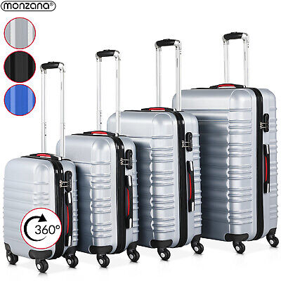 Hard Shell Suitcase Set Of 4 Travel Luggage Bag ABS Cabin Lightweight Trolley • 92.95£