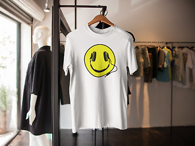 Dj Headphones Smiley Face Logo T-shirt Acid House Rave Hardcore Adults Kids • 7.99£