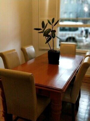 AU210 • Buy Dining Table - Solid Wood And Well Made - 7 X Leather And Wood Chairs