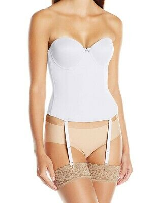 Va Bien Women's White USA 36D Ultra Lift Low Back Bustier Hook & Eye $79 #736 • 28.99£