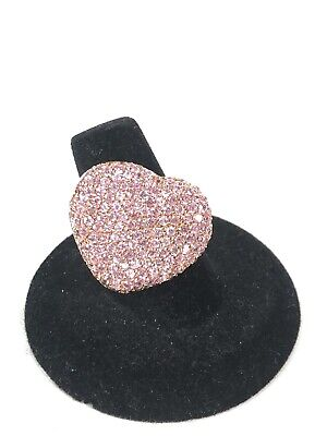 $14.99 • Buy Charles Winston Sterling Silver 925 Pink CZ Heart Ring- SZ 8 (Missing 1 Stone)